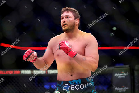 Matt Mitrione in action against Ryan Bader during a heavyweight mixed martial arts bout at Bellator 207, in Uncasville, CT, on . Bader won via unanimous decision