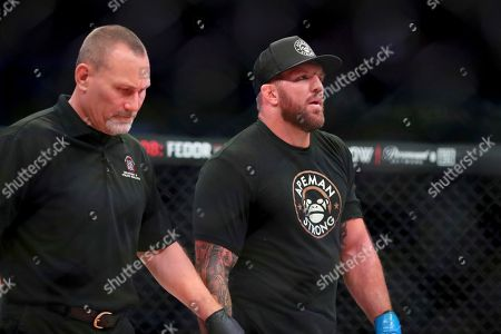 Stock Image of Ryan Bader awaits the decision after his heavyweight mixed martial arts bout with Matt Mitrione at Bellator 207, in Uncasville, CT, on . Bader won via unanimous decision