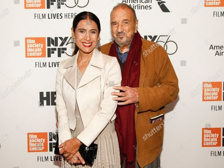"""Nahal Tajadod, Jean-Claude Carriere. Nahal Tajadod, left, and Jean-Claude Carriere, right, attend the closing night gala premiere of """"At Eternity's Gate"""" during the 56th New York Film Festival at Alice Tully Hall, in New York"""