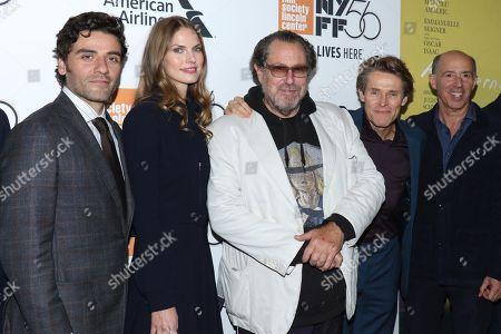 Oscar Isaac, Louise Kugelberg, Julian Schnabel, Willem Dafoe, Jon Kilik, producer
