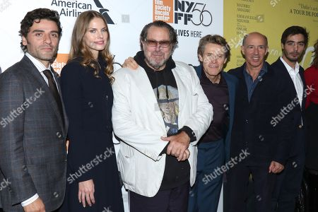 Stock Photo of Oscar Isaac, Louise Kugelberg, Julian Schnabel, Willem Dafoe, Jon Kilik, producer, Vladimir Consigny