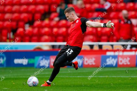 Stock Picture of Barnsley goalkeeper Jack Walton (13)  warming up during the EFL Sky Bet League 1 match between Barnsley and Luton Town at Oakwell, Barnsley