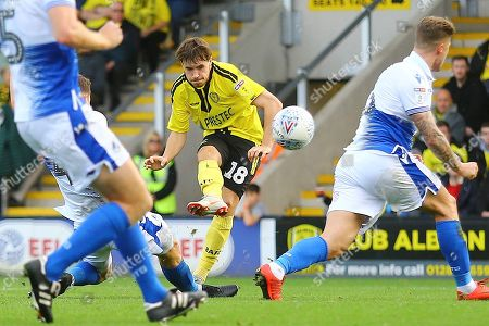 Burton Albion midfielder William Miller (18) shoots at goal and hits the post during the EFL Sky Bet League 1 match between Burton Albion and Bristol Rovers at the Pirelli Stadium, Burton upon Trent