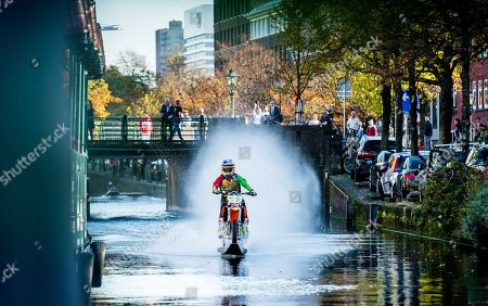 Editorial image of Australian stunt rider Robbie Maddison rides on Hague canal, The Hague, Netherlands - 13 Oct 2018