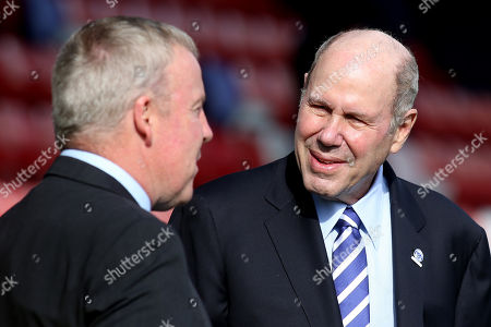 Portsmouth FC Owner, Michael Eisner chats with Portsmouth Manager, Kenny Jackett, ahead of kick-off during AFC Wimbledon vs Portsmouth, Sky Bet EFL League 1 Football at the Cherry Red Records Stadium on 13th October 2018