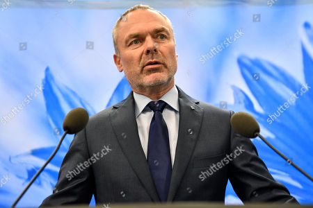 Editorial image of Liberal Party leader Jan Bjorklund press conference in Stockholm, Sweden - 13 Oct 2018