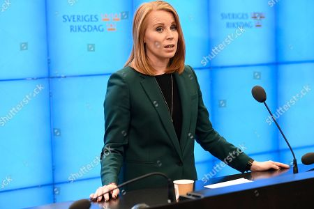 Annie Loof, leader of Sweden's Center Party, comments on government issues, at a press conference in Stockholm, Sweden, 13 October 2018.