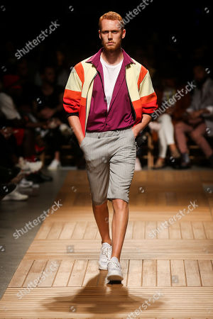 Stock Photo of A model displays creations by Portuguese designer Patrick de Padua during the 51st Lisbon Fashion Week, in Lisbon, Portugal, 13 October 2018. The event runs untill 14 October.