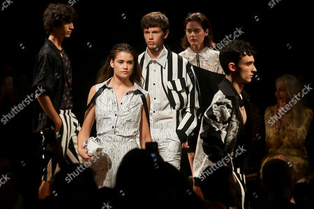 Stock Image of Models present creations by Portuguese designer Patrick de Padua during the 51st Lisbon Fashion Week, in Lisbon, Portugal, 13 October 2018. The event runs untill 14 October.