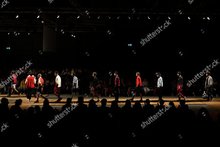 Models present creations by Portuguese designer Patrick de Padua during the 51st Lisbon Fashion Week, in Lisbon, Portugal, 13 October 2018. The event runs untill 14 October.