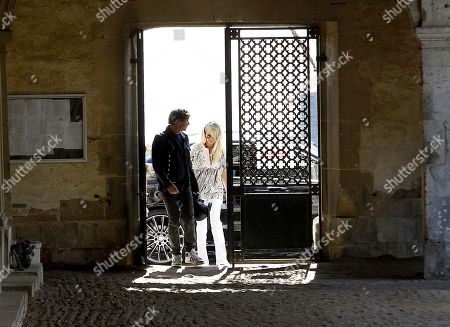 Laeticia Hallyday, Jade Hallyday and Joy Hallyday visit the Montfort l'Amaury cemetery and the tomb of Charles Aznavour
