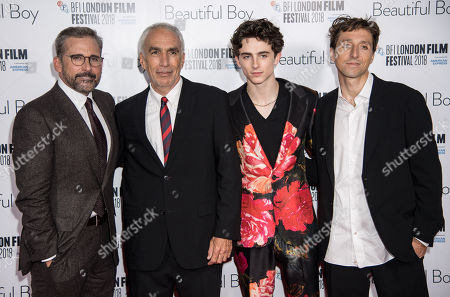 Steve Carell, David Sheff, Timothee Chalamet and Nic Sheff