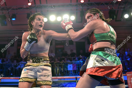 Chantelle Cameron (white/gold shorts) defeats Jessica Gonzalez during a Boxing Show at York Hall on 13th October 2018