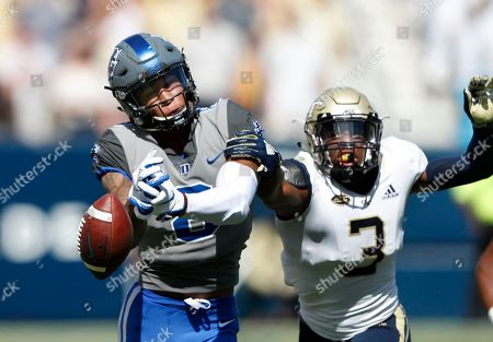 Tre Swilling, Aaron Young. Georgia Tech defensive back Tre Swilling (3) breaks up a pass intended for Duke wide receiver Aaron Young (8) during the first half of the an NCAA college football game, in Atlanta