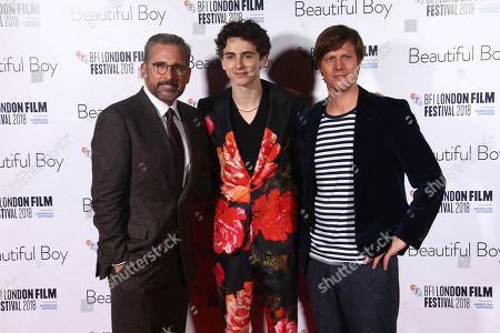 Felix van Groeningen, Timothee Chalamet, Steve Carell. Director Felix van Groeningen, from right, actors Timothee Chalamet and Steve Carell pose for photographers upon arrival at the premiere of the film 'Beautiful Boy' in London during the London Film Festival