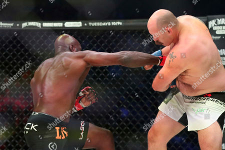 Cheick Kongo lands the knockout punch on Timothy Johnson during a mixed martial arts bout at Bellator 208, in Uniondale, NY on . Kongo won via first round TKO