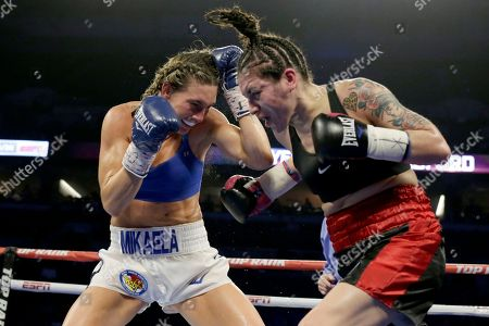 Mikaela Mayer, Vanessa Bradford. Mikaela Mayer, left, and Vanessa Bradford exchange blows during their super featherweight NABF title boxing bout in Omaha, Neb., . Mikaela Mayer won by unanimous decision