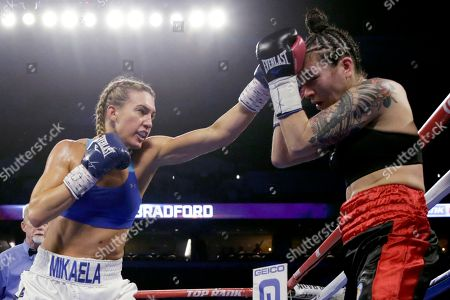 Mikaela Mayer, Vanessa Bradford. Mikaela Mayer, left, jabs at Vanessa Bradford during their super featherweight NABF title boxing bout in Omaha, Neb., . Mikaela Mayer won the bout by unanimous decision