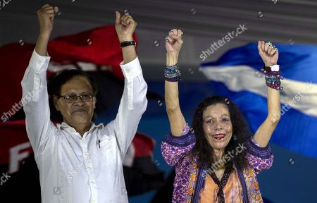 Nicaraguan Vicepresident Rosario Murillo (R) and Ambassador of El Salvador in Nicaragua Carlos Antonio Ascencio Giron (L) participate in a public ceremony to celebrate the canonization of Salvadoran beatus Oscar Arnulfo Romero in Managua, Nicaragua, 13 October 2018. Romero was killed on 24 March 1980 by an armed right-wing squadron while he was officiating in the chapel of the Divina Providencia cancer hospital in San Salvador, in the days prior to the outbreak of the Salvadoran civil war (1980-1992), according to the Report of the Truth Commission.
