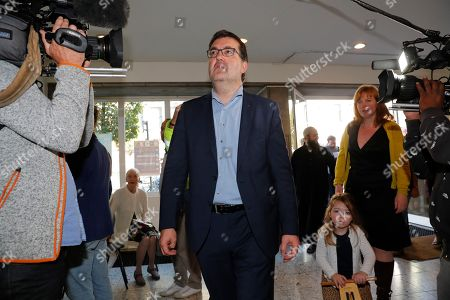 Wouter Van Besien of the Groen (Green) party arrives to vote in the municipal election at a polling station in Borgerhout district, Antwerp, Belgium, 14 October 2018. Belgian citizens will vote on 14 October 2018, to elect members of the municipal council of their municipality.