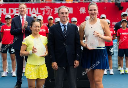 Lidziya Marozava of Belarus & Shuko Aoyama of Japan during the trophy ceremony after the doubles final