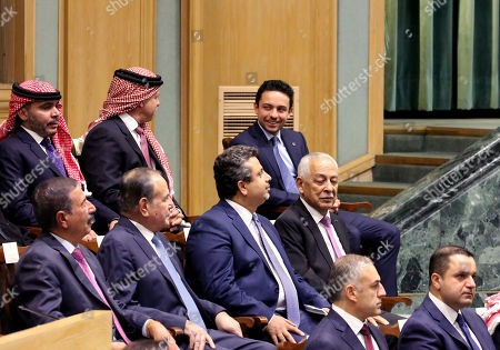Crown Prince of Jordan Al Hussein bin Abdullah (Top-R) seen before the arrival of King Abdullah II of Jordan (not seen in the picture) to give the Throne speech at the inauguration of the 18th parliament's third session in Amman, Jordan, 14 October 2018. The Jordanian king gave his traditional annual throne speech to open the 18th Parliament's third ordinary session to guide the government with a working program for the coming phase.