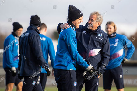Iceland's head coach Erik Hamren (2-R) attends a training session at the Laugardalsvoellur stadium in Reykjavik, Iceland, 14 October 2018. Iceland will face Switzerland in their UEFA Nations League soccer match on 15 October 2018.