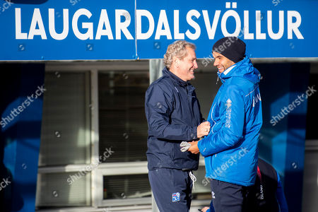 Iceland's head coach Erik Hamren (L) and  Iceland's player Victor Palsson attend a training session at the Laugardalsvoellur stadium in Reykjavik, Iceland, 14 October 2018. Iceland will face Switzerland in their UEFA Nations League soccer match on 15 October 2018.