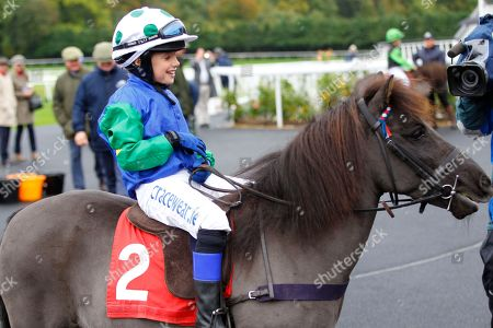Stock Photo of Cranford Fantastic and Lucas Murphy win the Shetland Pony Grand National Team Flat Race at Chepstow for father Timmy Murphy beating Claredale Edward and Archie Gubb.