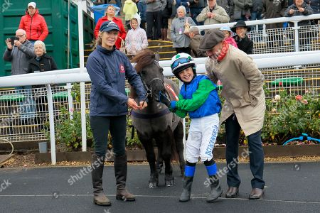 Cranford Fantastic and Lucas Murphy win the Shetland Pony Grand National Team Flat Race at Chepstow for father Timmy Murphy beating Claredale Edward and Archie Gubb.