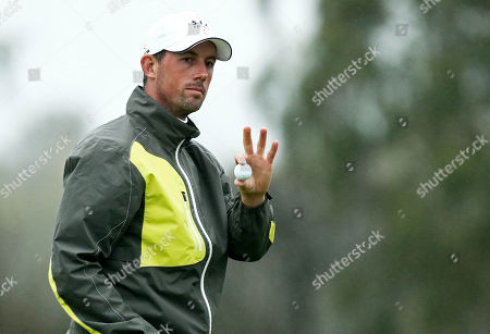 Alexander Bjork of Sweden acknowledges the crowd on the 2nd hole.