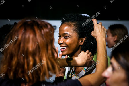 Portuguese model Isilda Moreira is prepared backstage to go on the runway for Andrew Coimbra during the 51st Lisbon Fashion Week, in Lisbon, Portugal, 14 October 2018. The event ends today.