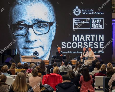 Spanish fashion designer Lorenzo Caprile (C), British costume designer Sandy Powell, winner of three Oscar Awards (L), and Maria Cornejo (R) participate in the forum 'Moda y Cine, un hilo invisible' (lit. Fashion and Cinema, an invisible thread) at 'Scorsese Factory', a space to honor US film director Martin Scorsese, in Oviedo, Spain, 14 October 2018. Jury members of the Princess of Asturias Awards announced on 25 April 2018, that Martin Scorsese was the winner of the Princess of Asturias 2018 for Arts prize. The Princess of Asturias Awards are given every year to personalities or organizations from all around the world who make significant achievements in the sciences, arts, literature, humanities and sports.