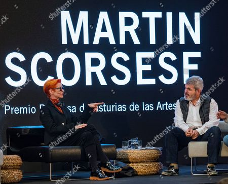 Spanish fashion designer Lorenzo Caprile (R) and British costume designer Sandy Powell, winner of three Oscar Awards, participate in the forum 'Moda y Cine, un hilo invisible' (lit. Fashion and Cinema, an invisible thread) at 'Scorsese Factory', a space to honor US film director Martin Scorsese, in Oviedo, Spain, 14 October 2018. Jury members of the Princess of Asturias Awards announced on 25 April 2018, that Martin Scorsese was the winner of the Princess of Asturias 2018 for Arts prize. The Princess of Asturias Awards are given every year to personalities or organizations from all around the world who make significant achievements in the sciences, arts, literature, humanities and sports.