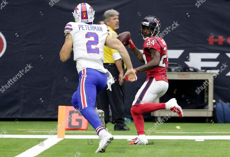 Johnathan Joseph, Nathan Peterman. Houston Texans cornerback Johnathan Joseph (24) scores pass Buffalo Bills quarterback Nathan Peterman (2) after intercepting Peterman's pass during the second half of an NFL football game, in Houston