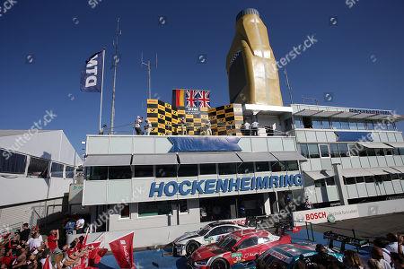 14.10.2018, Hockenheimring, Hockenheim, DTM 2018, 10.Lauf Hockenheimring,12.10. - 14.10.2018 ,  Gary Paffett (GBR#2) Mercedes-AMG Mogoalsport Petronas, Mercedes-AMG C 63 DTM , DTM Champion / Meister  2018, 2.Platz fuer Rene Rast (DEU#33) Audi Sport Team Rosberg, Auto  Mogoalsport Audi RS 5 DTM, 3.Platz fuer Paul Di Resta (GBR#3) Mercedes-AMG Mogoalsport Remus, Mercedes-AMG C 63 DTM