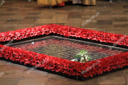 Princess Eugenie's bouquet on Grave of The Unknown Warrior, London