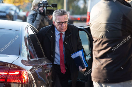 Former German Interior Minister Thomas de Maiziere arrives by car for a meeting of the German Christian Democratic Union (CDU) party's presidium at the CDU headquarters, the Konrad-Adenauer-Haus, in Berlin, Germany, 15 October 2018.