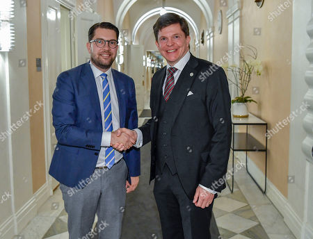 Stock Image of Swedish Speaker of Parliament Andreas Norlen (R) meets with Sweden Democrats party leader Jimmie Akesson at the Parliament in Stockholm, Sweden, 15 October 2018. Seven party leaders meet with the Speaker of Parliament, who will then decide who to nominate for Prime Minister.