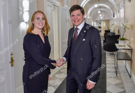 Swedish Speaker of Parliament Andreas Norlen (R) meets with Centre Party leader Annie Loof at the Parliament in Stockholm, Sweden, 15 October 2018. Seven party leaders meet with the Speaker of Parliament, who will then decide who to nominate for Prime Minister.