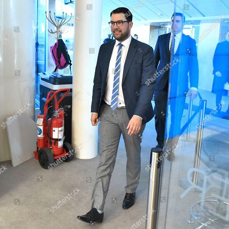 Stock Photo of Sweden Democrats party leader Jimmie Akesson pictured at the Parliament arrives at the Parliament in Stockholm, Sweden, 15 October 2018. Seven party leaders meet with the Speaker of Parliament, who will then decide who to nominate for Prime Minister.