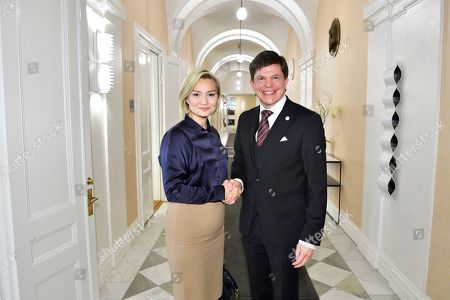 Swedish Speaker of Parliament Andreas Norlen (R) meets with Christian Democratic Party leader Ebba Busch Thor at the Parliament in Stockholm, Sweden, 15 October 2018. Seven party leaders meet with the Speaker of Parliament, who will then decide who to nominate for Prime Minister.