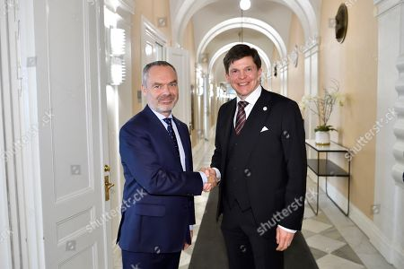 Stock Image of Swedish Speaker of Parliament Andreas Norlen (R) meets with Liberal Party leader Jan Bjorklund at the Parliament in Stockholm, Sweden, 15 October 2018. Seven party leaders meet with the Speaker of Parliament, who will then decide who to nominate for Prime Minister.