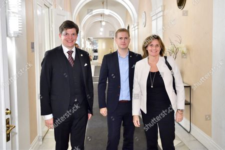Stock Picture of Swedish Speaker of Parliament Andreas Norlen (L) meets with spokespersons of the Green Party Gustav Fridolin and Isabella Lovin at the Parliament in Stockholm, Sweden, 15 October 2018. Seven party leaders meet with the Speaker of Parliament, who will then decide who to nominate for Prime Minister.