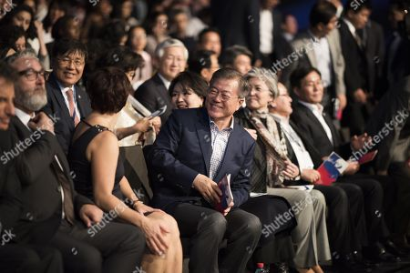 Stock Image of South Korean President Moon Jae-In and his wife Kim Jung-sook