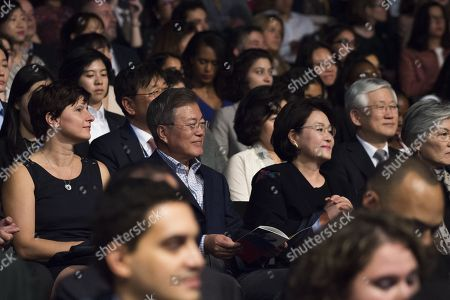 South Korean President Moon Jae-In and his wife Kim Jung-sook