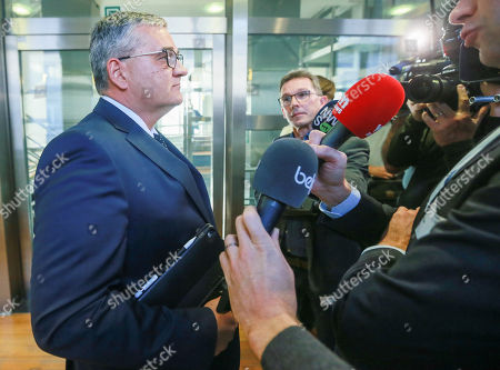 Belgian Defense Minister Steven Vandeput speaks to the press the day after the municipal local elections at the Flemish Regional Parliament in Brussels, Belgium, 15 October 2018. Belgian Defense Minister Steven Vandeput will leave in January the federal government to become mayor of Hasselt.