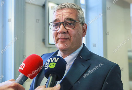 Stock Image of Belgian Defense Minister Steven Vandeput speaks to the press the day after the municipal local elections at the Flemish Regional Parliament in Brussels, Belgium, 15 October 2018. Belgian Defense Minister Steven Vandeput will leave the federal government  in January to become mayor of Hasselt.