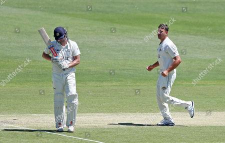 Marcus Stoinis of Western Australia celebrates taking the wicket of Cameron White of Victoria