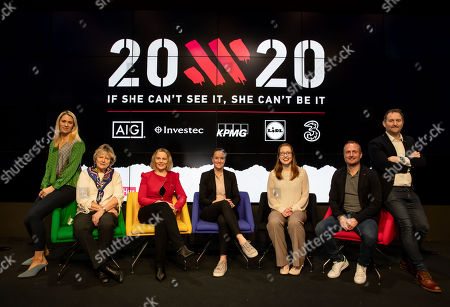 Evanne Ní Chuilinn, Jessica Harrington (Horse Trainer), Sarah Keane (President Olympic Federation of Ireland), Casey Stoney (Manchester United Women's coach), Rena Buckley (18 times All Ireland winner), Graham Shaw (Ireland Women's Hockey coach) and Ger Gilroy are pictured at the launch of 20x20, a new campaign presented by the Federation of Irish Sport and originated and developed by the creative agency Along Came A Spider and supported by Healthy Ireland is setting out to create a measurable cultural shift in our perception of women?s sport so that it will be seen as something strong, valuable and worth celebrating. The campaign, championed by Ireland?s National Governing Bodies and Local Sports Partnerships, is calling on the people of Ireland and all those involved in Irish sport and physical activity to get behind female sport in a concerted effort to increase media coverage, boost attendances and ultimately, grow involvement in female sport and physical activity by 20% by the end of 2020.